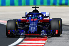 Brendon Hartley of New Zealand driving the (28) Scuderia Toro Rosso STR13 Honda on track during practice for the Formula One Grand Prix of Hungary at Hungaroring on July 27, 2018 in Budapest, Hungary.
