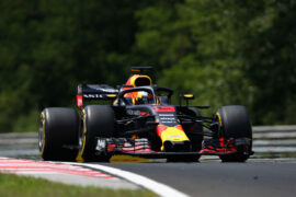 Daniel Ricciardo of Australia driving the (3) Aston Martin Red Bull Racing RB14 TAG Heuer on track during practice for the Formula One Grand Prix of Hungary 2018