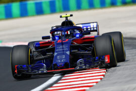 Pierre Gasly of France and Scuderia Toro Rosso driving the (10) Scuderia Toro Rosso STR13 Honda on track during practice for the Formula One Grand Prix of Hungary 2018