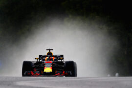 Daniel Ricciardo of Australia driving the (3) Aston Martin Red Bull Racing RB14 TAG Heuer on track during qualifying for the Formula One Grand Prix of Hungary at Hungaroring on July 28, 2018 in Budapest, Hungary.