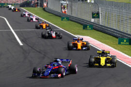 Brendon Hartley of New Zealand driving the (28) Scuderia Toro Rosso STR13 Honda leads Nico Hulkenberg of Germany driving the (27) Renault Sport Formula One Team RS18 during the Formula One Grand Prix of Hungary at Hungaroring on July 29, 2018 in Budapest, Hungary.