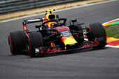 Max Verstappen driving the (33) Aston Martin Red Bull Racing RB14 TAG Heuer on track during practice for the Formula One Grand Prix of Belgium at Circuit de Spa-Francorchamps 2018.