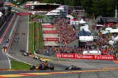 Max Verstappen driving the (33) Aston Martin Red Bull Racing RB14 TAG Heuer leads Kevin Magnussen of Denmark driving the (20) Haas F1 Team VF-18 Ferrari on track during the Formula One Grand Prix of Belgium at Circuit de Spa-Francorchamps on August 26, 2018 in Spa, Belgium.