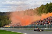Max Verstappen driving the (33) Aston Martin Red Bull Racing RB14 TAG Heuer on the parade lap before the Formula One Grand Prix of Belgium at Circuit de Spa-Francorchamps on August 26, 2018 in Spa, Belgium.
