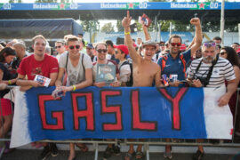 Fans of Pierre Gasly of Scuderia Toro Rosso and France during previews ahead of the Formula One Grand Prix of Italy at Autodromo di Monza on August 30, 2018 in Monza, Italy.