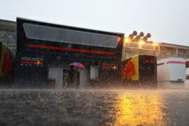 Red Bull Racing paddock buildings are seen surrounded by rain before practice for the Formula One Grand Prix of Italy at Autodromo di Monza on August 31, 2018 in Monza, Italy.