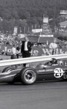 Jim Clark Lotus 49 Ford at LaSource Hairpin turn, Belgium Grand Prix, Spa-Francochamps circuit, 1967.
