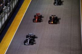 Lewis Hamilton, Max Verstappen & Sebastian Vettel on track Singapore GP F1/2018