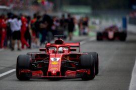 Sebastian Vettel Ferrari on track Italian GP F1/2018