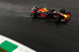 Max Verstappen driving the (33) Aston Martin Red Bull Racing RB14 TAG Heuer on track during practice for the Formula One Grand Prix of Italy at Autodromo di Monza.