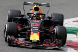 Daniel Ricciardo driving the (3) Aston Martin Red Bull Racing RB14 TAG Heuer on track during final practice for the Formula One Grand Prix of Italy at Autodromo di Monza on September 1, 2018 in Monza, Italy.