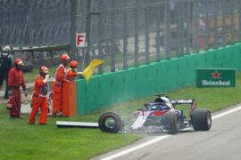 Brendon Hartley driving the (28) Scuderia Toro Rosso STR13 Honda stops at the side of the track after damaging his car during the start during the Formula One Grand Prix of Italy at Autodromo di Monza on September 2, 2018 in Monza, Italy.