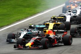 Max Verstappen driving the (33) Aston Martin Red Bull Racing RB14 TAG Heuer ahead of Valtteri Bottas driving the (77) Mercedes AMG Petronas F1 Team Mercedes WO9 during the Formula One Grand Prix of Italy at Autodromo di Monza on September 2, 2018 in Monza, Italy.
