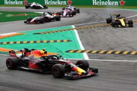 Max Verstappen driving the (33) Aston Martin Red Bull Racing RB14 TAG Heuer on track during the Formula One Grand Prix of Italy at Autodromo di Monza on September 2, 2018 in Monza, Italy.
