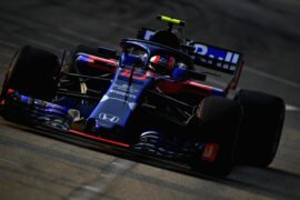 Pierre Gasly of France and Scuderia Toro Rosso driving the (10) Scuderia Toro Rosso STR13 Honda on track during practice for the Formula One Grand Prix of Singapore