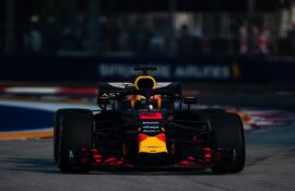 Daniel Ricciardo of Australia driving the (3) Aston Martin Red Bull Racing RB14 TAG Heuer on track during practice for the Formula One Grand Prix of Singapore.