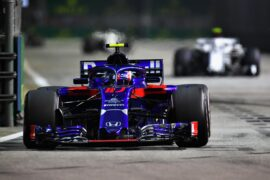 Pierre Gasly of France and Scuderia Toro Rosso driving the (10) Scuderia Toro Rosso STR13 Honda on track during the Formula One Grand Prix of Singapore 2018.