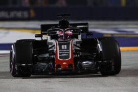 Romain Grosjean Haas on track Singapore GP F1/2018
