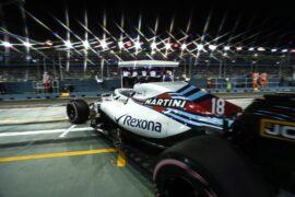 Marina Bay Circuit, Singapore Saturday 15 September 2018. Lance Stroll, Williams FW41, leaves the garage.