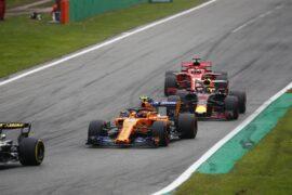 Monza, Italy. Sunday 2 September 2018. Stoffel Vandoorne, McLaren MCL33, leads Daniel Ricciardo, Red Bull Racing RB14 Tag Heuer, and Sebastian Vettel, Ferrari SF71H.
