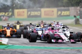 Esteban Ocon (FRA) Racing Point Force India F1 VJM11 at the start of the race. Italian Grand Prix, Sunday 2nd September 2018. Monza Italy.