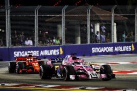 Sergio Perez (MEX) Racing Point Force India F1 VJM11. Singapore Grand Prix, Sunday 15th September 2018. Marina Bay Street Circuit, Singapore.