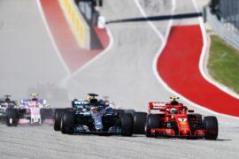 Drivers on track Kimi Raikkonen & Lewis Hamilton US GP F1/2018