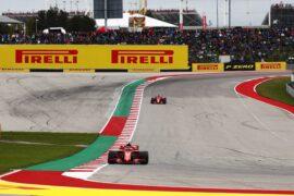 Kimi Raikkonen & Sebastian Vettel Ferrari on track US GP F1/2018