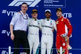 Winners Rissian GP F1/2018 - Lewis Hamilton, Vatteri Bottas & Sebastian Vettel