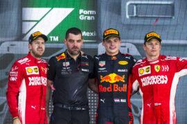 Winners Mexican GP F1/2018 Max Verstappen, Sebastian Vettel & Kimi Raikkonen
