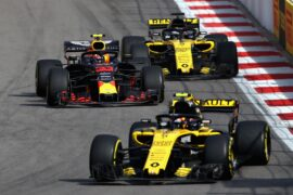 Max Verstappen of Red Bull Racing RB14 TAG Heuer overtakes Nico Hulkenberg of Renault Sport Formula One Team RS18 on track during the Formula One Grand Prix of Russia at Sochi Autodrom on September 30, 2018 in Sochi, Russia.