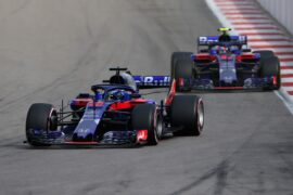 Brendon Hartley of New Zealand driving the (28) Scuderia Toro Rosso STR13 Honda leads Pierre Gasly of France and Scuderia Toro Rosso driving the (10) Scuderia Toro Rosso STR13 Honda on track during the Formula One Grand Prix of Russia at Sochi Autodrom on September 30, 2018 in Sochi, Russia.