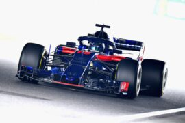 Brendon Hartley of New Zealand driving the (28) Scuderia Toro Rosso STR13 Honda on track during practice for the Formula One Grand Prix of Japan at Suzuka Circuit on October 5, 2018 in Suzuka.