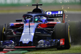 Sparks fly behind Brendon Hartley of New Zealand driving the (28) Scuderia Toro Rosso STR13 Honda on track during practice for the Formula One Grand Prix of Japan at Suzuka Circuit on October 5, 2018 in Suzuka.