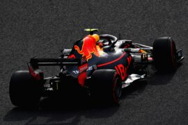 Max Verstappen of the Netherlands driving the (33) Aston Martin Red Bull Racing RB14 TAG Heuer on track during qualifying for the Formula One Grand Prix of Japan at Suzuka Circuit on October 6, 2018 in Suzuka.