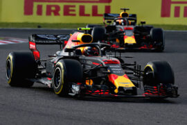 Max Verstappen leads Daniel Ricciardo of Red Bull Racing RB14 TAG Heuer on track during the Formula One Grand Prix of Japan at Suzuka Circuit on October 7, 2018 in Suzuka.