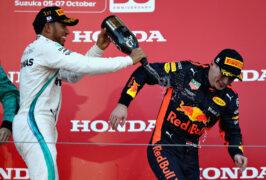 Lewis Hamilton & Max Verstappen celebrates on the podium of Japan F1/2018