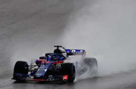 Brendon Hartley of New Zealand driving the (28) Scuderia Toro Rosso STR13 Honda on track during practice for the United States Formula One Grand Prix at Circuit of The Americas on October 19, 2018 in Austin, United States.