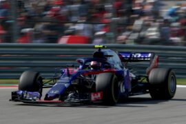 Pierre Gasly of France and Scuderia Toro Rosso driving the (10) Scuderia Toro Rosso STR13 Honda on track during the United States Formula One Grand Prix at Circuit of The Americas on October 21, 2018 in Austin, United States.