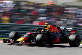 Max Verstappen of the Netherlands driving the (33) Aston Martin Red Bull Racing RB14 TAG Heuer on track during the United States Formula One Grand Prix at Circuit of The Americas on October 21, 2018 in Austin, United States.