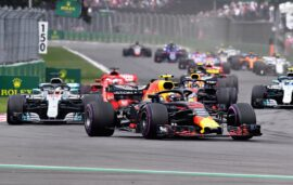 Max Verstappen of the Netherlands driving the (33) Aston Martin Red Bull Racing RB14 TAG Heuer leads the field during the Formula One Grand Prix of Mexico at Autodromo Hermanos Rodriguez on October 28, 2018 in Mexico City, Mexico.