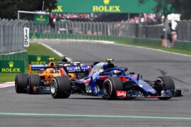 Pierre Gasly of France and Scuderia Toro Rosso driving the (10) Scuderia Toro Rosso STR13 Honda leads Stoffel Vandoorne of Belgium driving the (2) McLaren F1 Team MCL33 Renault on track during the Formula One Grand Prix of Mexico at Autodromo Hermanos Rodriguez on October 28, 2018 in Mexico City, Mexico.