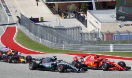 Formula One - Mercedes-AMG Petronas Motorsport, United States GP 2018. Lewis Hamilton, Kimi Raikkonen & Max Verstappen on track.