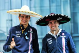(L to R): Esteban Ocon (FRA) Racing Point Force India F1 Team and Sergio Perez (MEX) Racing Point Force India F1 Team at an America Movil Charity Football Match. Mexican Grand Prix, Wednesday 24th October 2018. Mexico City, Mexico.