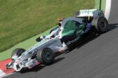 Jenson Button driving the Honda RA108 at Mangy Course, France (2008)