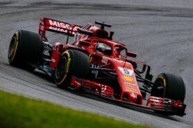 Sebastian Vettel driving the Ferrari SF71H in Brazil (2018)