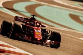 Sebastian Vettel driving the Ferrari SF71H at testing in Abu Dhabi (2018)