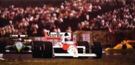 Alain Prost driving the McLaren MP4-5 Honda on the Hungaroring (1989)