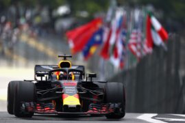 Daniel Ricciardo of Australia driving the (3) Aston Martin Red Bull Racing RB14 TAG Heuer on track during practice for the Formula One Grand Prix of Brazil at Autodromo Jose Carlos Pace 2018 in Sao Paulo, Brazil.