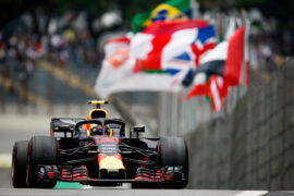 Max Verstappen of the Netherlands driving the (33) Aston Martin Red Bull Racing RB14 TAG Heuer on track for the Formula One Grand Prix of Brazil at Autodromo Jose Carlos Pace 2018 in Sao Paulo, Brazil.
